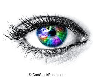 coloridos, olho mulher, macro, tiro
