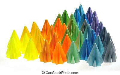 coloridos, origami, unidades