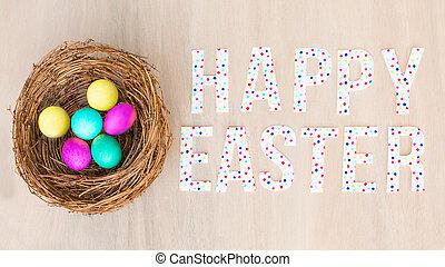 coloridos, ovos, em, ninho, madeira, experiência., apartamento, configuração, espaço cópia, páscoa feliz, texto