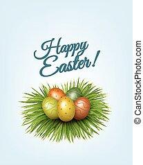 coloridos, ovos, experiência., grass., verde, vector., páscoa, feliz