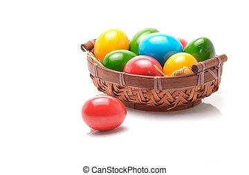 coloridos, ovos, isolado, fundo, branca, Páscoa, sobre
