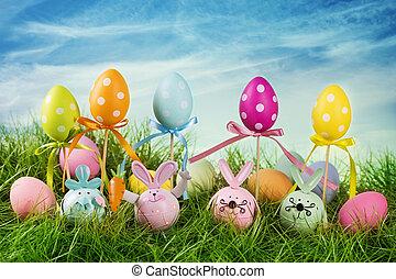 coloridos, ovos páscoa