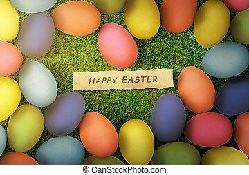 coloridos, ovos páscoa, com, páscoa feliz, texto