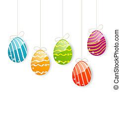 coloridos, páscoa, fundo, ovos, branca