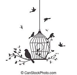 coloridos, pássaros, com, árvore