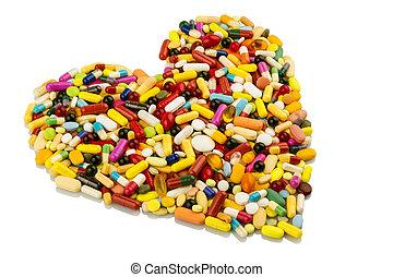 coloridos, pílulas, em, forma coração