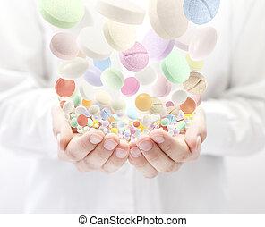 coloridos, pílulas