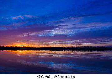 coloridos, pôr do sol