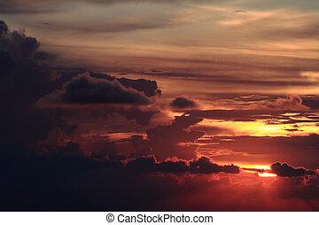 coloridos, pôr do sol, pesado, dramático, nuvens, escuro