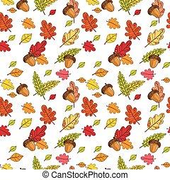 coloridos, padrão, folhas, outono, ornamento, seamless, outono, fundo, estação
