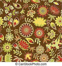 coloridos, padrão, folhas, seamless, outono, flores