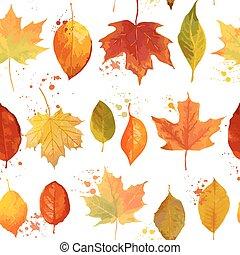 coloridos, padrão, folhas, -, seamless, outono, vetorial, fundo