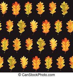 coloridos, padrão, folhas, seamless, outono, vetorial, fundo