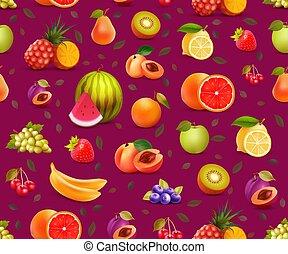coloridos, padrão papel parede, vetorial, frutas, alimento., seamless, eco