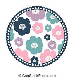 coloridos, padrão, quadro, fundo, flores brancas, redondo