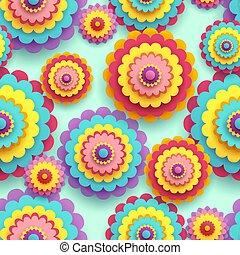 coloridos, padrão, seamless, chrysanthemums, flores, 3d