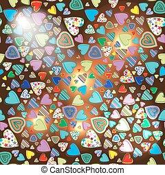 coloridos, padrão, seamless, escuro, il, fundo, corações