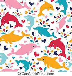 coloridos, padrão, seamless, fundo, divertimento, golfinhos