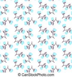 coloridos, padrão, seamless, fundo, flores brancas