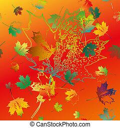 coloridos, padrão, seamless, leaves., queda, maple
