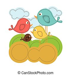 coloridos, paisagem, com, caricatura, pássaros, jogo