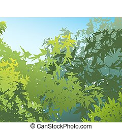 coloridos, paisagem, de, verão, foliage, -, vetorial,...