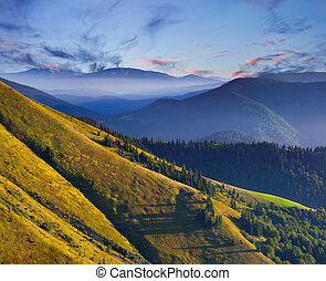 coloridos, paisagem outono, em, a, montanhas., amanhecer