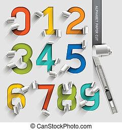 coloridos, papel, alfabeto, número, corte