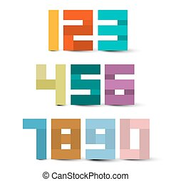 coloridos, papel, números, set., vetorial, símbolos, isolado, branco, experiência.
