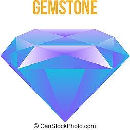 coloridos, pedra preciosa, isolado, branco, fundo, vetorial