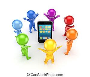 coloridos, pessoas, ao redor, móvel, telefone.
