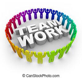 coloridos, pessoas, ao redor, palavra, trabalho equipe