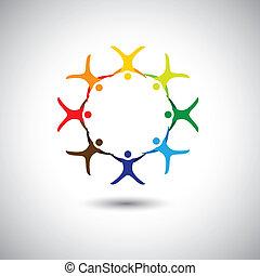 coloridos, pessoas, junto, como, círculo, de, unidade,...