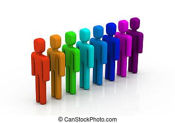 coloridos, pessoas linha
