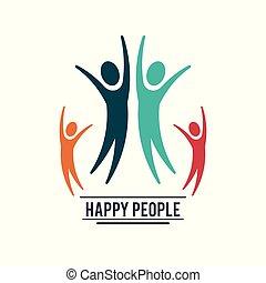 coloridos, pessoas, quatro, pictograms, trabalho equipe, feliz