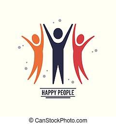 coloridos, pessoas, três, pictograms, trabalho equipe, comemorar, feliz
