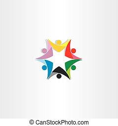 coloridos, pessoas, trabalho equipe, estrela, ícone