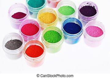 coloridos, pigmento, pós, fundo