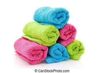 coloridos, pilha, toalhas