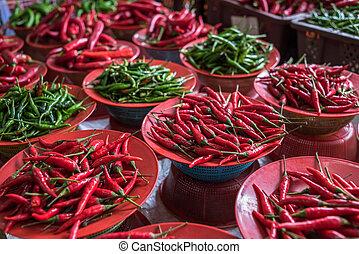 coloridos, pimentas pimentões, tenda, mercado asiático