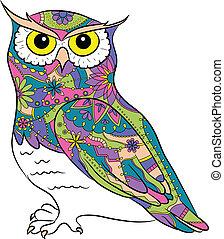 coloridos, pintado, coruja