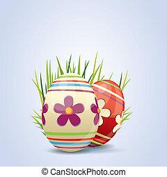 coloridos, pintado, ovos páscoa