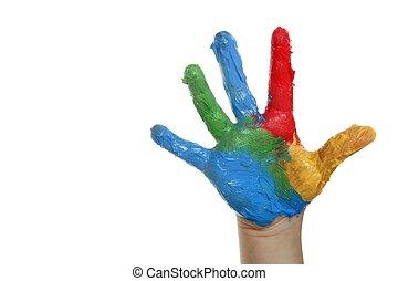 coloridos, pintado, sobre, mão, branca, crianças
