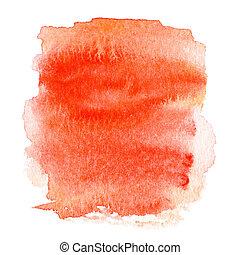 coloridos, pintado, texto, abstratos, mão, aquarela, mancha, molhados, laranja