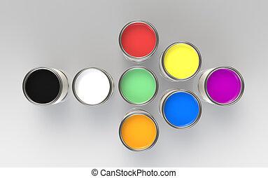 coloridos, pintura, baldes