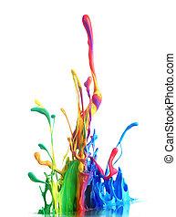 coloridos, pintura, respingue