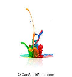 coloridos, pintura, respingue, isolado, branco
