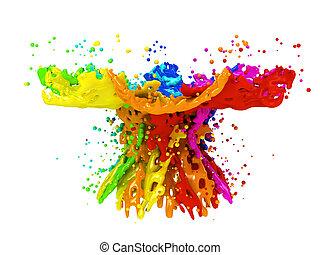 coloridos, pintura, respingue, isolado, este prego