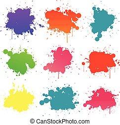 coloridos, pintura, splat