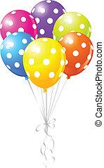 coloridos, pontilhado, balões